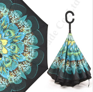 거꾸로 우산 C 핸들 더블 레이어 인사이드 아웃 우산 역 방풍 꽃 양산 비치 파라솔 A112201 인쇄 식물