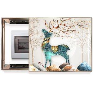 Ciervos de lujo caja de distribución de la pintura decorativa cubierta de la tapa de la caja eléctrica pintura restaurante de la pintura mural de la pared del porche