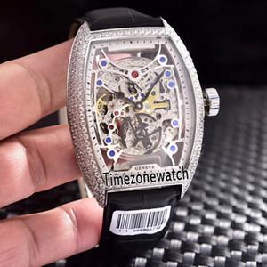 Nuova collezione uomo Cintree Curvex 8880 B S6 SQT D cassa in acciaio trasparente scheletro automatico orologio da uomo con diamanti cinturino lether cinturino orologi
