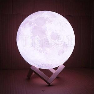 créatif petite lampe de bureau de contact de la lune 3D USB charge lampe lumineuse Party Arts Décoration et artisanat T2I5165