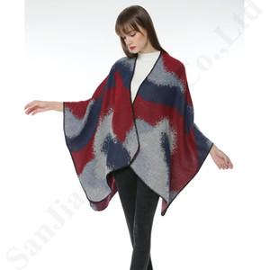 130 * 155cm Plaid Poncho Frauen-Weinlese-Schal-Blumenschal stricken Kaschmir-Schal-Overall Wraps Dame Winter weiche Cape Cardigan Mantel Mantel B3023