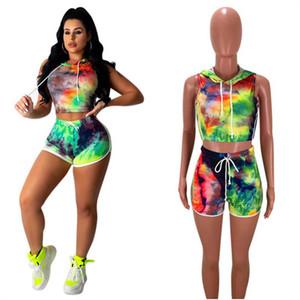 Verão Mulheres Shorts Traksuit mangas camiseta com capuz Top Curto + Shorts 2 Piece Set Tie-Dye Imprimir T-shirt Outfits Bodycon Suit Clothes INS