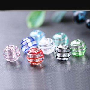 12mm DIY Schmuck Accessoires runde Perlen japanische handgemachte Silberfolie verbrannt Seide Glasperlen GSLLZ028 Handgemachte Lampwork
