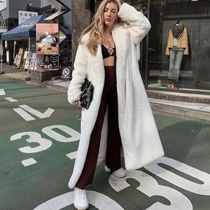 Casacos de inverno quente de alta qualidade Plush grossas com Brasão Belt Mulheres Long Fur elegantes Outfits Overcoat partido