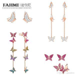 FAHMI SWA LILIA Rose Gold Butterfly Tassel perfurado Hoop Longo Brinco romântico e elegante traz um elegante, olhar Avant-garde
