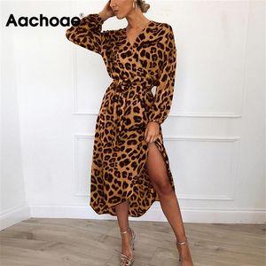 Aachoae Leopard платье 2020 Женщины Vintage Long Beach платье Сыпучие Длинные V-образным вырезом линии Sexy Party рукава платья Vestidos де фиеста CX200615