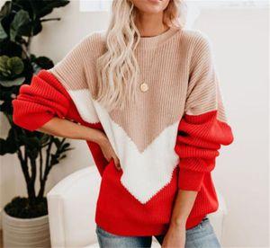패널로 디자이너 여자의 스웨터 긴 소매 크루 넥 여성 풀오버 스웨터 스트라이프 여성의 대비 색 스웨터