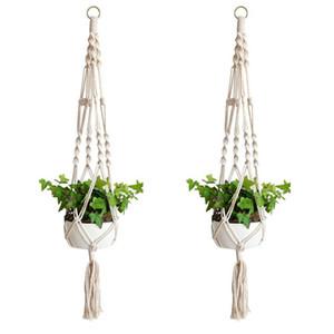60pcs Plant Hanger Hook Flower Pot Handmade Knitting Natural Fine Cordage Planter Holder Basket Home Garden Balcony Decoration