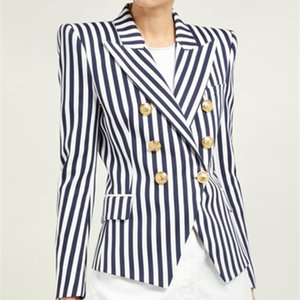 2019 Runway Women's Double Breasted Striped Coat Jacket Lion Buttons High Quality New Fashion Slim Long Sleeve Jacket X424