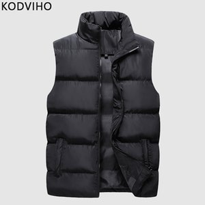 가을 겨울 남성 파카 조끼 솔리드 캐주얼 민소매 재킷면 패딩 허리 코트 경량 Bodywarmer 새로운 브랜드 의류