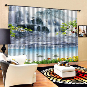 Blackout curtain white waterfall curtains 3D Curtains set For Bed room Living room Office Hotel Home Wall Decorative