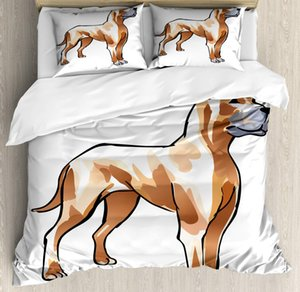 Dog Lover Duvet Cover Set Creative Illustration of German Mastiff Dog 3 Piece Bedding Set Pale Caramel Pale Peach Ceil Blue