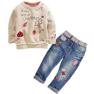 Winter 2PCS Children Toddler Kids Baby Girls Clothing Cute Cartoon Flower Printing Sweater + Jeans suit Outfit Clothes Set Y200525