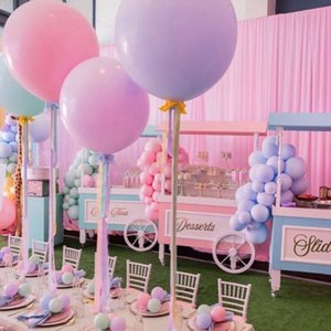 2pcs KuChang 18inch Big dolce Macaron palloncino di colore della caramella puro lattice Balloons Wedding della festa di compleanno decorazione Eventi accessori T200613