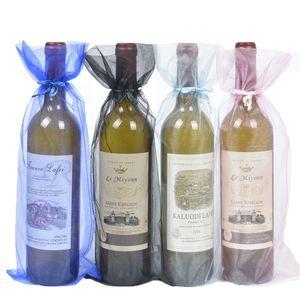 100 adet Organze Şarap Şişesi Çanta Takı Hediye Düğün Çanta Kılıfı Noel Partisi Dedoration 15x38 cm için Kırmızı Şarap Kapak Toptan