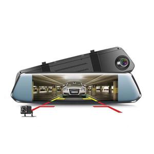 Auto DVR Kamera Doppelobjektiv 7 Zoll Full HD 1080P Dashcam Rückspiegel Videorecorder Registrator Auto 2.5D gebogenes Glas Dash Cam