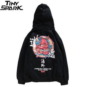 Hip Hop Dos Homens Moletom Com Capuz Camisola Fantasma Chinês Charater Impressão Harajuku Moletom Com Capuz Streetwear 2018 Outono Casual Pullover Preto Algodão J190523