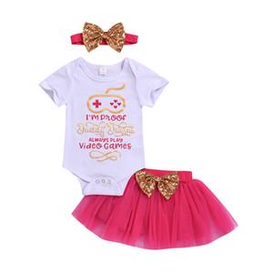 Vestidos hermosos para niña Vestidos de noche de verano para niños de verano para niña Vestidos Mameluco de Sweet Girls + falda + diadema