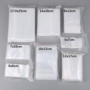 100 adet / grup Küçük Zip Kilit Plastik Torbalar Yeniden Kapatılabilir Şeffaf Takı / Gıda Saklama Çantası Mutfak Paketi Çanta Temizle Kilitli çanta Toptan Fiyat