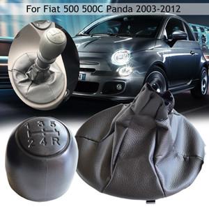 5-Gang New Car Styling Gang-Schaltknauf Schalthebel Hebel Håndball Für Fiat 500 500C Panda 2003-2012 mit Leder Gamasche Stiefel