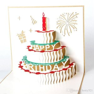 3D Pop UP birthday cake Greeting Blessing Cards Handmade paper silhoue & Creative Happy christmas cards Free Shipping