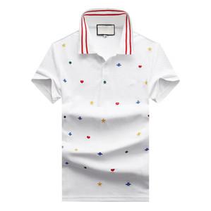 Sommer drehen unten Designer-T-Shirts Kragen der Männer bestickte Bienen Buchstaben Polos für Männer Mode Hülse Kurz lässige Männer Designer Polo