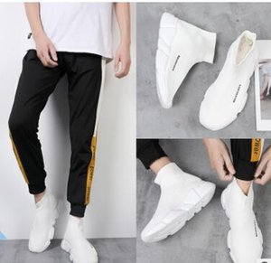 2019 Tasarımcı Çorap Ayakkabı Moda Erkek Kadın Sneakers Speed Trainer Siyah beyaz Mavi Pembe Glitter Erkek Eğitmenler Rahat Ayakkabı Koşucu Ağır Sole