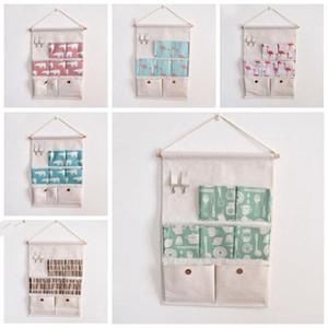 sacs de rangement suspendus coton et lin Creative imperméable et recevoir la porte de tissu de poche suspendue poche derrière un sac de rangement divers LXL850-1