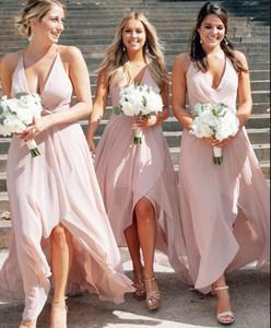 2020 Sexy V шеи High Low A Line шифон невесты платья чай длины Pink Beach BOHO Холтер свадебные платья гостей