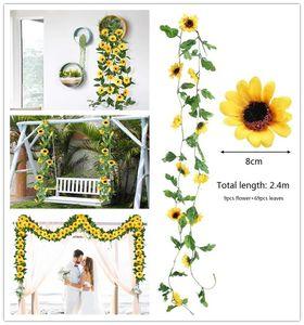Künstliche Sonnenblumen-Rebe hängend Silk Fake Flowers mit grünen Blättern Garlands Hausgarten-Wand Greenery Abdeckung Hochzeit Tischdekoration