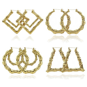 2019 2020 Fashion Jewelry Multiple Shapes Ethnic Large Vintage Gold Plated Bamboo Hoop Earrings for Women