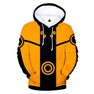 هوديس رجال الخريف فضفاض تي شيرت رجالي وبلوزات موضة ذكر ملابس ناروتو 3D مطبوعة