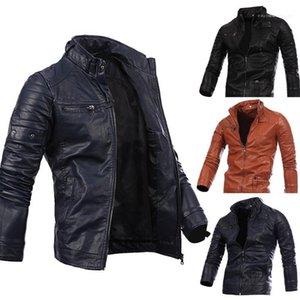 Одежда мужская Autumm Дизайнер PU куртки Стенд воротник с длинным рукавом Твердые Карманный Zipper Homme Одежда Casual