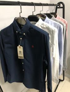 Automne hiver chemise d'affaires des hommes de couleur unie chemise à manches longues en coton pur casual hommes Oxford chemise services sociaux