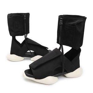 Black Tractor Men Sandals High Platform Men Summer Shoes Canvas Leather Shoes Men Gladiator Sandals Rome Style Summer Boots