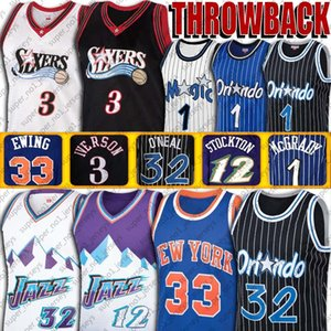 Vintage Allen Iverson Shaquille ONeal Jersey Tracy Penny Hardaway Mcgrady jerseys Patrick Ewing John Stockton Karl Malone Baloncesto Jersey