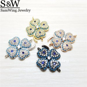 20pcs 2017 wholesale pave inlay nano gems charm connector clover charm for bracelet making can mixed Color