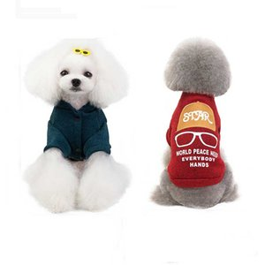 dog clothes Letter Glasses Pattern Pet Coats Jackets World Peace Two Leg Dog Jackets Outerwears Tee Shirts Warm Dogs Apparel drop ship