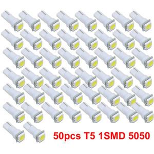 Super Bright voiture 50pcs Intérieur Lumière 12V T5 5050 1 Tableau de bord LED Smd Gauge Cluster Tableau de bord de voiture automatique côté Wedge ampoule lampe 12V