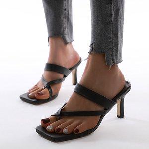Sommer-Frauen Damen High Heels Flip Flops quadratische Zehe-Strappy Thong Sandalen Women Casual Hausschuhe Party Schuhe Schwarz Slides