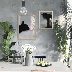 Wall modern painting cat living room decoration painting restaurant transparent glass cat background hanging painting black and white mural