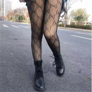 Progettista delle donne della maglia del merletto Collant Calze Marca Lettere sexy scava fuori sottili calze di seta femminile Collant donna Softy calze lunghe