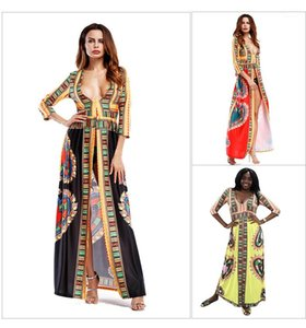 Female Clothing Casual Apparel Womens African Bohemain Dresses Split Designer Flora Print V Neck Long Sleeve