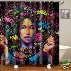 Dafield African American Shower Curtain African American Woman poliestere di alta qualità lavabile nero donna ragazza Shower Curtain T200102