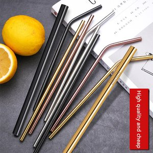 6*215mm 304 Stainless Steel Straw Bent Straight Reusable Colorful Straw Drinking Straws Metal Straw Cleaner Brush Bar Drinking Tool D0202