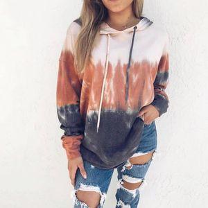 Womens Sweatshirt Hooded Gradient Print Long Sleeve Tie Dyeing Pullover Sweatshirt Casual Women Hoodies Mujer