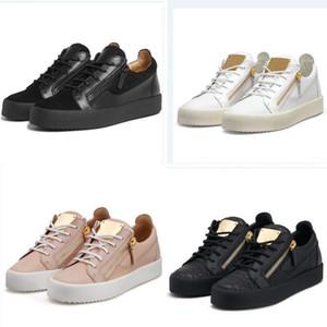 Giuseppe Zanotti GZ casual para hombre de la cremallera y bajo de las mujeres superior plana genuina zapatos de cuero para hombre Zapatos de las zapatillas de deporte hococal