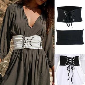 New Women Lady Wide Buckle Elastic Leather Stretch Corset Waistband Waist Belt Bandage Designer Belt