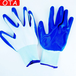 OTA Wholesales 12pairs Nylon Nitril Glue Gloves Verschleißfeste Anti-Rutsch-Handschuhe Arbeitshandschuhe zum Schutz der Hände