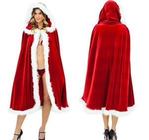 Красная Шапочка Рождество Sexy Karneval Одежда Женщины Косплей костюмы Санта-Клауса плаща с капюшоном этап Смешать мыс бархатной шубке пончо